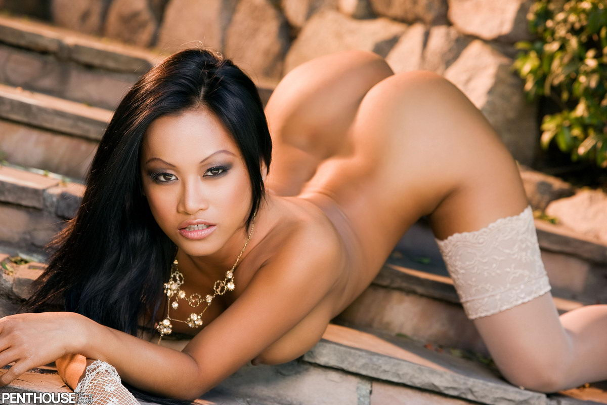 laced panties, bra and hosiery she models in this Penthouse shoot